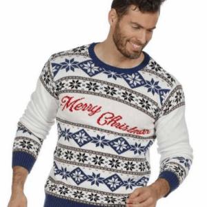 Flot blå og hvid julesweater