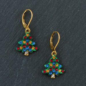 Jule øreringe med juletræer og Swarovski krystaller