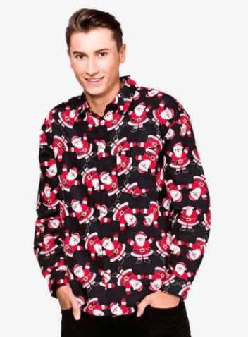 Juleskjorte med julemænd på