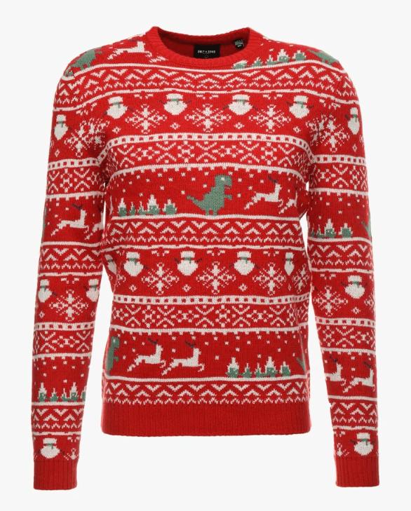 julesweater i rød strik, julebluse set på julemands-kostumer.dk