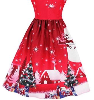 Rød Vintage julekjole