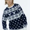 Klassisk blå julesweater til mænd