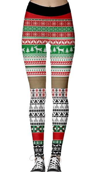 Jule leggings med rensdyr og jule træer