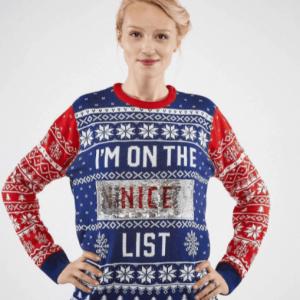 Julesweater til damer blå og rød