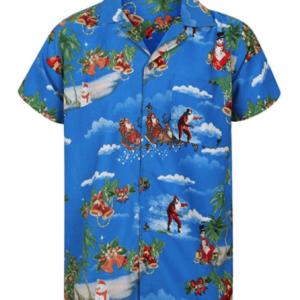 Blå Hawaii juleskjorte