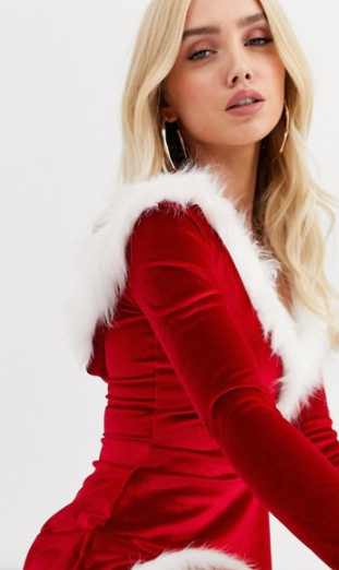 Club L santa - julekjole med imiteret pelskant