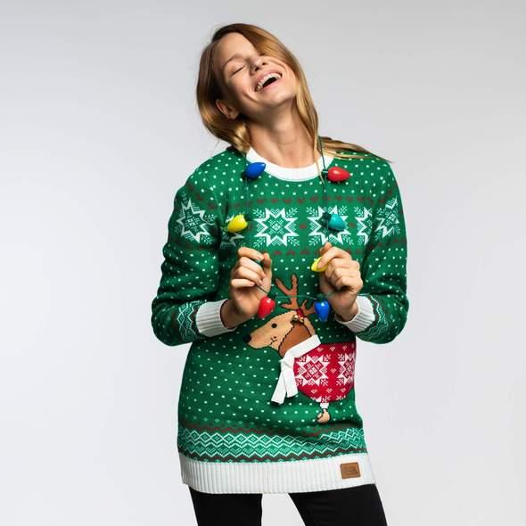 Grøn juletrøje med billede af hund på maven