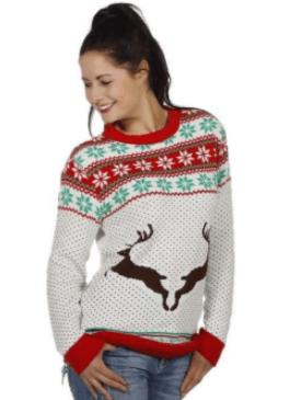 Hvid unisex juletrøje