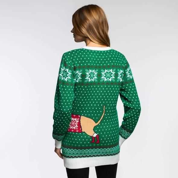 Merry christmas julesweater med hund på maven