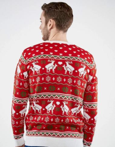 Rød og flot rensdyrs julesweater