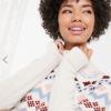 Beige Højhalset trøje med fairisle print
