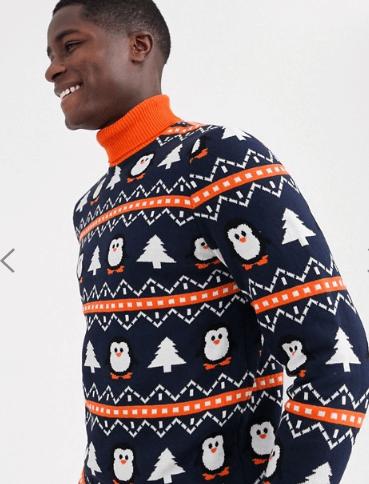 julesweater med rullekrave og pingvin design