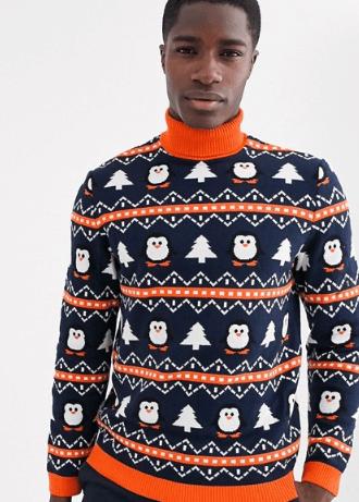 juletrøje med rullekrave og pingvin design