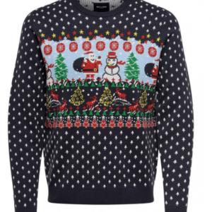 Blå julesweater med julemotiv
